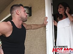 Buxom mamma Tara Holiday massages & fornicates her son's mate - unmanageable America Mature Porn